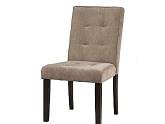 Benzara BM172028 Wooden Chair with Tufted Back, Set of Two, Beige and Brown