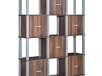 Costway 4-Tier Storage Shelf Display Bookcase with 6 Doors