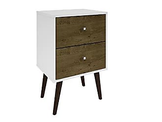 Manhattan Comfort Liberty Collection Mid Century Modern Nightstand With Two Drawers, Splayed Legs, White/Wood