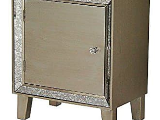 Heather Ann Creations Bon Marche Series Hand Finished 1 Door Small Space Saving Wooden Cabinet with Mirrored Trim, Champagne