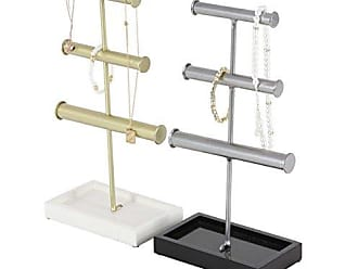 Deco 79 94632 Iron 3-Tiered Jewelry Holders with Base, 6 x 13, Gold/Gray/Black/White