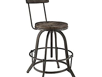 ModWay Modway Procure Modern Farmhouse Pine Wood and Iron Metal Adjustable Height Swivel Bar Stool in Black