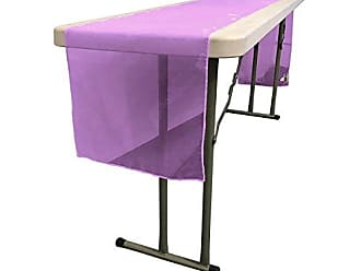 LA Linen Sheer Mirror Organza Table Runner 14 by 108-Inch, Purple, 14 x 108