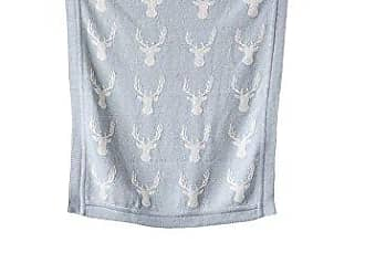 Creative Co-op Creative Co-op Cotton Knit Baby Blanket with Deer, 40 L x 32 W, Grey