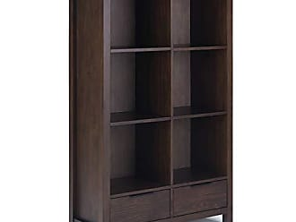 Simpli Home Simpli Home AXCHLL-08 Hollander Solid Wood 58 inch x 36 inch Modern Contemporary Bookcase with Drawers in Warm Walnut Brown