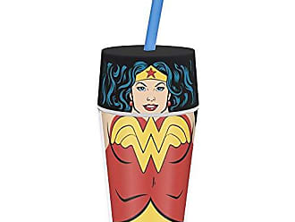 Zak designs Zak! Designs Insulated Iconic Tumbler with Screw-on Lid and Straw featuring Wonder Woman Graphics, Double Wall Construction, BPA-free Plastic, 13 oz