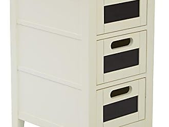 Office Star Avery Chair Side Table with 3 Drawers with Chackboard Fronts, Cream Finish