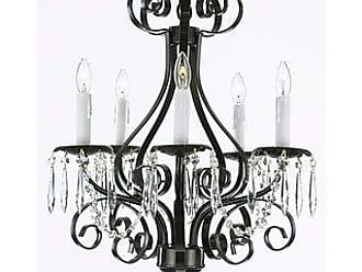 Wrought Iron and Crystal 4 Light Gold Chandelier H14 X W15 Pendant Lighting