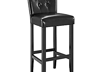 ModWay Modway Tender Faux Leather Dining Bar Stool in Black with Tufted Buttons