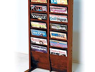 Wooden Mallet 14-Pocket Cascade Free-Standing Magazine Rack, Mahogany