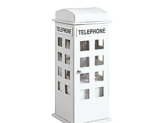 Ore International ORE International HBB1818 British Telephone Booth Leather Jewelry Box, White