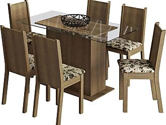 Madesa Sala De Jantar Madesa Base De Madeira Com Tampo De Vidro E 6 Cadeiras Molly - Rustic/ Bege-Marrom