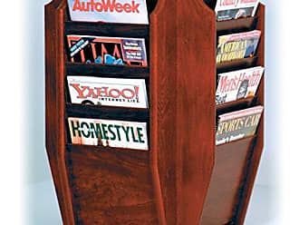 Wooden Mallet Cascade Spinning Countertop Display with 16-Magazine Pockets, Mahogany