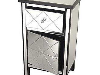 Heather Ann Creations Traditional Accent Console with Front Beveled Mirrored Finish, 32.7 x 20, Black