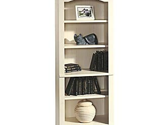 Sauder Sauder 158085 Harbor View Library, L: 27.21 x W: 17.48 x H: 72.24, Antiqued White finish