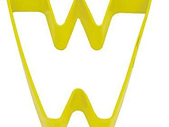 CybrTrayd R&M Durable Cookie Cutter, Monogrammed Letter W, Yellow, Bulk Lot of 12