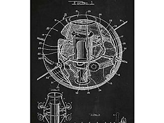 Inked and Screened SP_TECH_2,835,548_CH_17_W Satellite Structure Print, 11 x 17, Chalkboard-White Ink