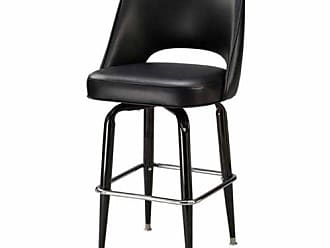 Regal Bucket Seat with Cut Out Back 30 in. Square Frame Black Metal Bar Stool