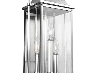 Feiss Wellsworth 18.25 3-Light Outdoor Wall Lantern in Brushed Steel