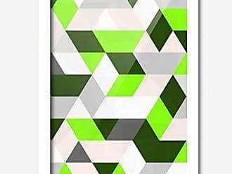 Los Quadros Quadro Decorativo Geométrico Verde e Branco 45 x 33 cm Los Quadros Branco