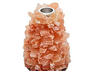 Benzara Enchanting Metal with Agate Candleholder, 4 x 4 x 4.75, Orange