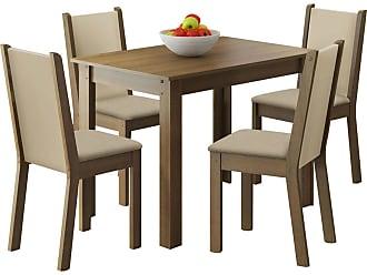 Madesa Sala de Jantar Madesa Ketlin e 4 cadeiras Marrom