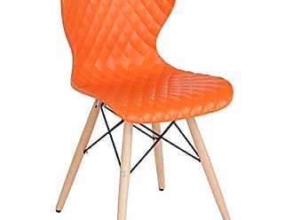 Flash Furniture Bedford Contemporary Design Orange Plastic Chair with Wooden Legs