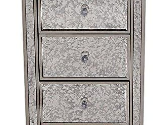 Heather Ann Creations Eleganza Series Formal Mirror Trimmed Tall 3 Drawer Cabinet, Champagne