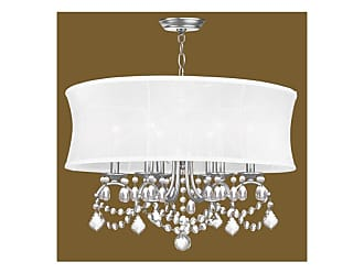 Livex Lighting 6306 6 Light 360 Watt Chandelier with Off White Silk