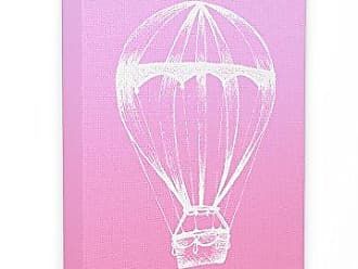 Stupell Industries Stupell Home Décor Graphic Hot Air Balloon White and Pink Oversized Stretched Canvas Wall Art, 24 x 1.5 x 30, Proudly Made in USA