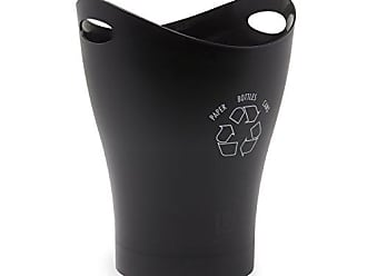 Umbra Garbino Recycling Bin for the Office - Recycling bin with handles, clearly marked recycling logo, Small Recycling Bin for the Office, Black/White
