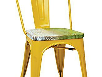 Office Star Bristow Yellow Metal Frame Chair with Vintage Wood Seat, Pine Alice Finish, 4-Pack