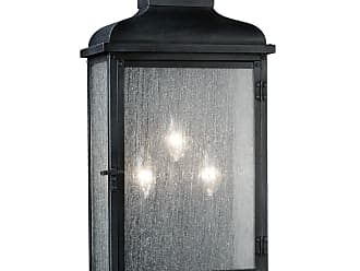 Feiss Pediment 23.88 3-Light Outdoor Wall Sconce in Dark Weathered Zinc