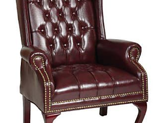 Office Star Thick Padded Vinyl Tufted High Back Traditional Queen Anne Style Chair with Nailhead Accents and Mahogany Finish Legs, Jamestown