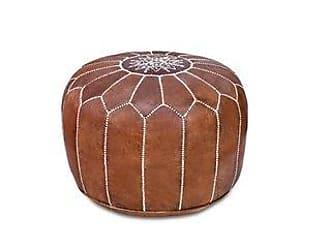 Overstock Stuffed Handmade Genuine Leather Moroccan Pouf, Ottoman (Pouf/Standard Ottoman - Tan)