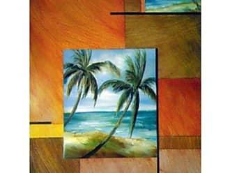 Buyartforless Buyartforless Tropical Breeze I 18x24 Art Print Poster Brown Yellow Red Orange Square Block Design Palm Trees Ocean Beach