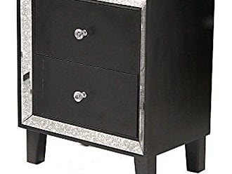 Heather Ann Creations Bon Marche Series 2 Drawer Small Space Saving Square Wooden Cabinet with Mirrored Trim, Black