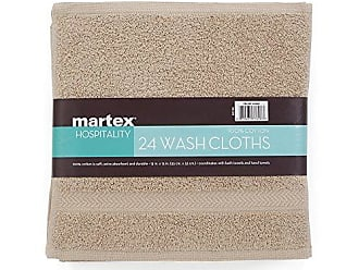 Westpoint Home COMMERCIAL 24 PIECE WASH CLOTH TOWEL SET BY MARTEX - 24 Wash Cloths, Home, Shower, Tub, Gym, Pool - Machine Washable, Absorbent, Professional Grade, Hotel Quality - KHAKI