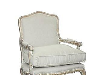 Pangea Home Z White and Linen Rodney Lounge Chair, Antique