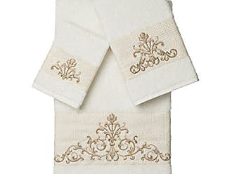 Linum Home Textiles Scarlet 3Pc Embellished Towel Set, Cream