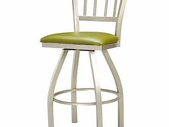 Regal Jailhouse 30 in. Swivel Metal Bar Stool with Upholstered Seat Tigermoth Grey - 3509U-30-ANODIZED NICKEL-TIGERMOTH