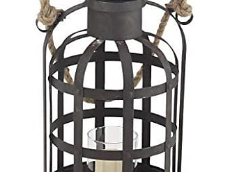 Deco 79 94964 Frosted Glass Candle Lantern with Jute Rope Handle Gray