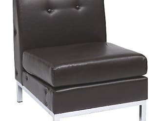 Office Star Ave Six Wall Street Faux Leather Armless Chair with Chrome Finish Base, Espresso