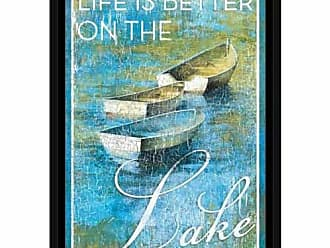 EAZL Lake Life Three Boats Lake Lodge Water Distressed Texture Inspirational Painting Blue & Green, Framed Canvas Art by Pied Piper Creative