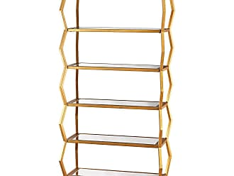 Dimond Home Anjelica Bookshelf In Gold Leaf And Clear Mirror