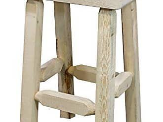 Montana Woodworks MWHCBNHLV24 Homestead Collection Counter Height Half Log Barstool, Clear Lacquer Finish