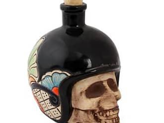 Novica Ceramic tequila bottle, Biker Skull