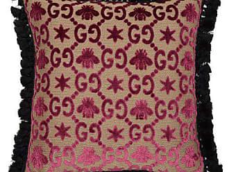 Gucci Gg Jacquard Velvet Cushion - Pink Multi