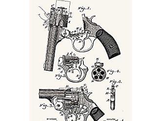 Inked and Screened Foehl Revolver - C. Foehl - 1894 Print, 11 x 17, True White - Black Ink
