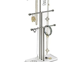 Umbra Trigem Hanging Jewelry Organizer - 3 Tier Table Top Necklace Holder and Display, White/Nickel